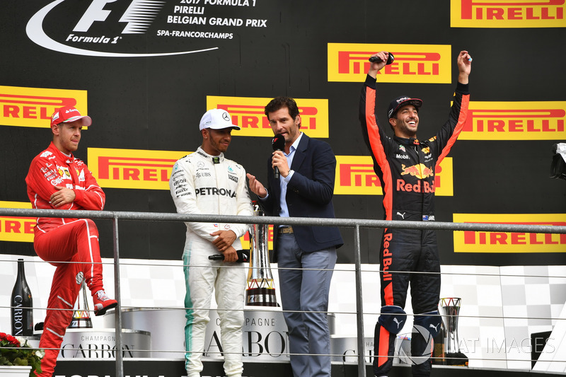 Sebastian Vettel, Ferrari, Lewis Hamilton, Mercedes AMG F1, Mark Webber, Daniel Ricciardo, Red Bull Racing on the podium