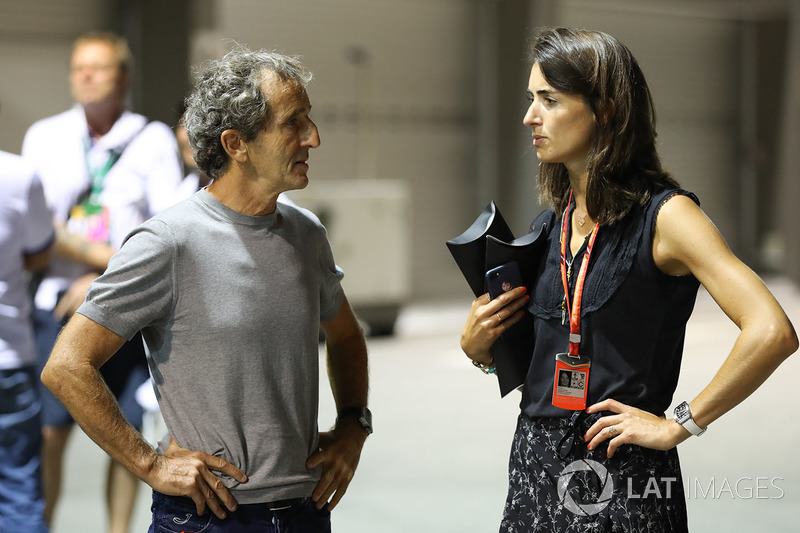 Alain Prost, Renault-Berater, mit Margot Laffite, Canal+