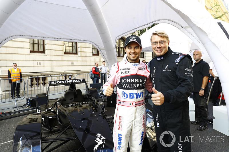 Sergio Perez, Sahara Force India F1; Mika Häkkinen