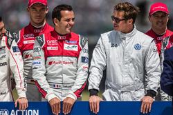 FIA Action for Road Safety photoshoot: #7 Audi Sport Team Joest Audi R18: Marcel Fassler, Andre Lotterer, Benoit Tréluyer with actor Brad Pitt