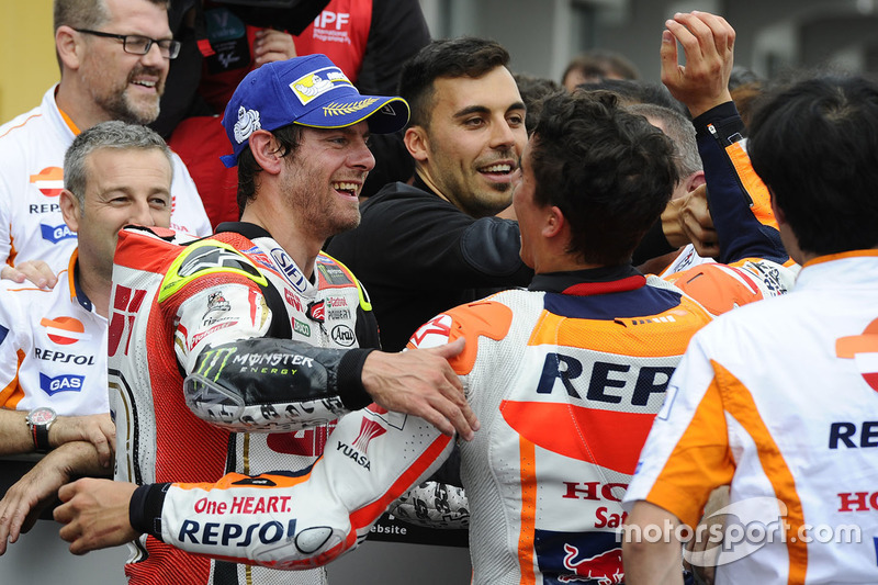 Second place Cal Crutchlow, Team LCR Honda celebrates with the team