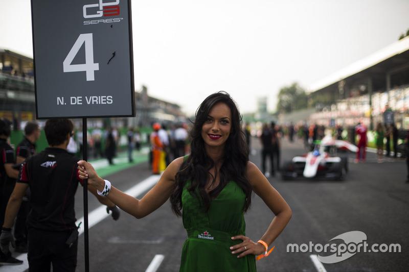 Grid girl for Nyck De Vries, ART Grand Prix