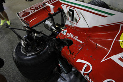 The damaged car of Kimi Raikkonen, Ferrari SF70H after crashing out of the race