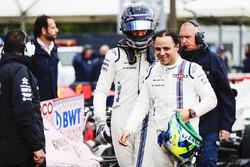 Lance Stroll, Williams, Felipe Massa, Williams, in Parc Ferme after Qualifying