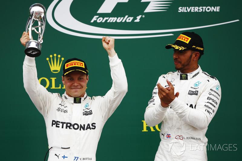 Winner Lewis Hamilton, Mercedes AMG F1, appaluds second place Valtteri Bottas, Mercedes AMG F1