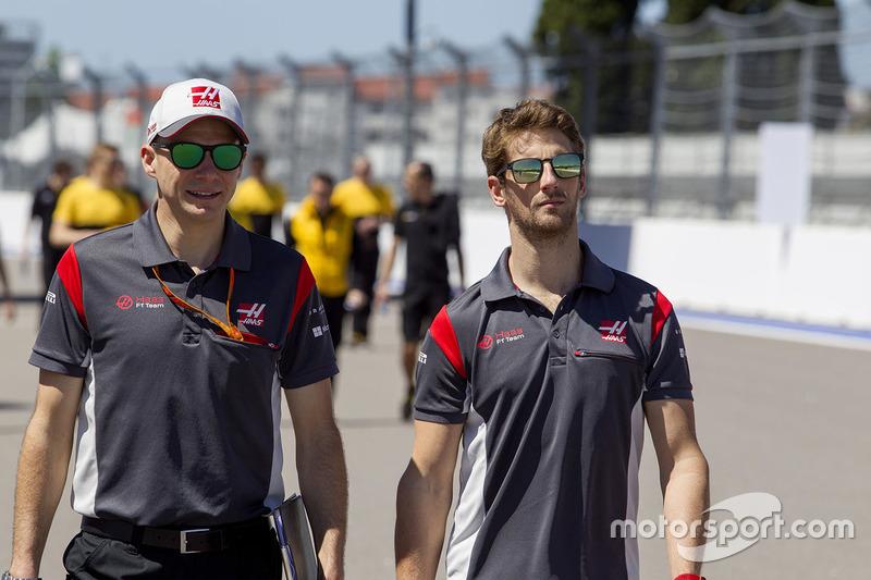 Romain Grosjean, Haas F1 Team walks the track