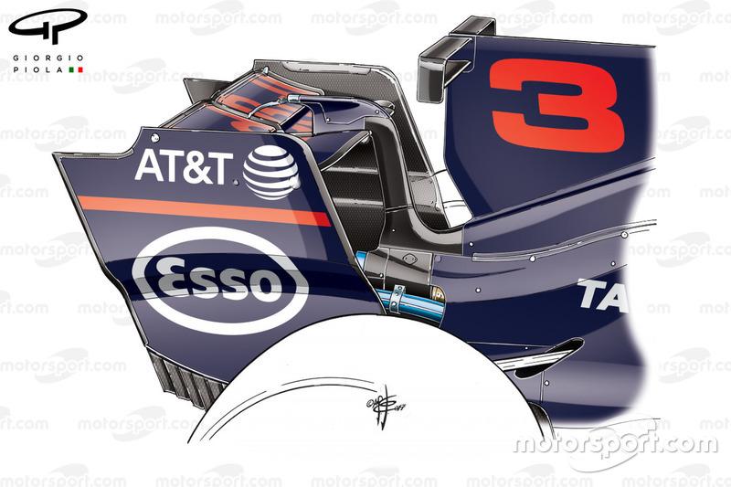 Aileron arrière de la Red Bull RB13, GP de Belgique