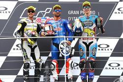 Podium: deuxième place pour Thomas Luthi, CarXpert Interwetten, le vainqueur Mattia Pasini, Italtrans Racing Team, troisième place pour Alex Marquez, Marc VDS