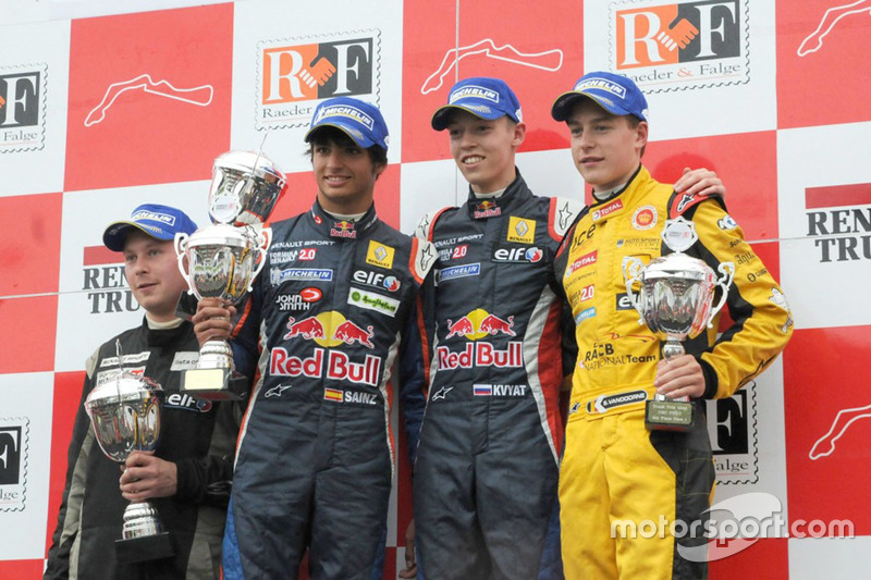 Podium: race winner Daniil Kvyat, Koiranen GP, second place Carlos Sainz Jr., Koiranen GP, third pla