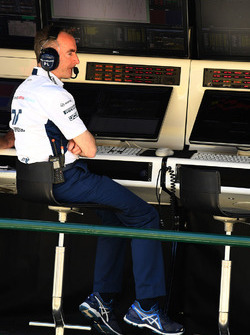 Paddy Lowe, Williams Shareholder and Technical Director on the pit wall gantry
