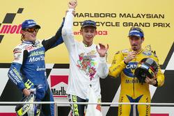 Race winner and World Champion Valentino Rossi, second place Sete Gibernau, third place Max Biaggi