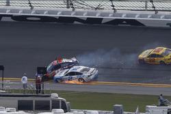 Denny Hamlin, Joe Gibbs Racing Toyota, collides with Brad Keselowski, Team Penske Ford