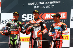 Podium: race winner Chaz Davies, Ducati Team, second place Jonathan Rea, Kawasaki Racing, third place Marco Melandri, Ducati Team
