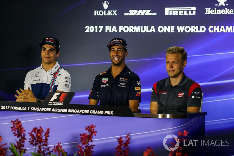 Pressekonferenz: Lance Stroll, Williams, Daniel Ricciardo, Red Bull Racing und Kevin Magnussen, Haas F1 Team