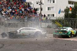Crash of Gary Paffett, Mercedes-AMG Team HWA, Mercedes-AMG C63 DTM and Mike Rockenfeller, Audi Sport Team Phoenix, Audi RS 5 DTM
