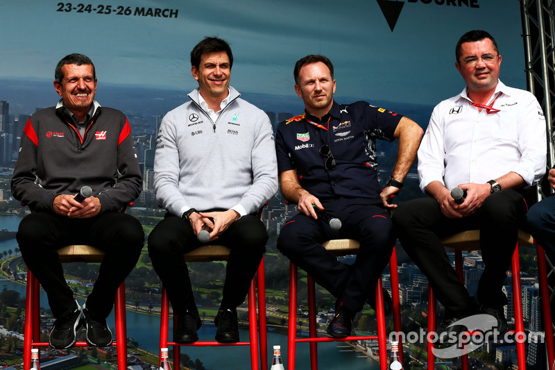 Günther Steiner, Haas F1 Team; Toto Wolff, Mercedes; Christian Horner, Red Bull Racing; Eric Boullie