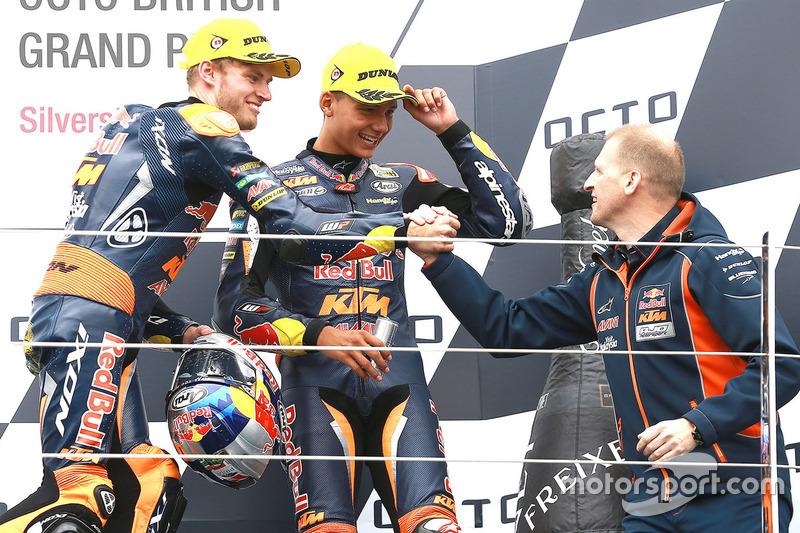 Podium: race winner Brad Binder, Red Bull KTM Ajo, second place Francesco Bagnaia, Aspar Team Mahind