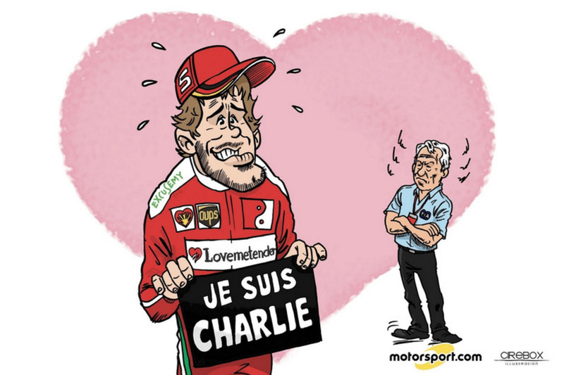 Cartoon Cirebox - De excuses van Sebastian Vettel