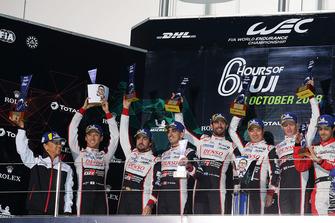 Podium LMP1: winners Mike Conway, Kamui Kobayashi, Jose Maria Lopez, Toyota Gazoo Racing with Shigeki Tomoyama, President Gazoo Racing, second place Sebastien Buemi, Kazuki Nakajima, Fernando Alonso, Toyota Gazoo Racing