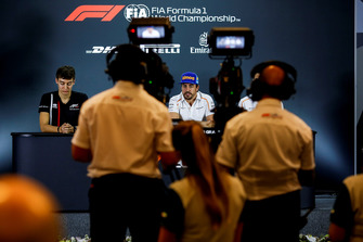 George Russell, Williams Racing and Fernando Alonso, McLaren in the press conference