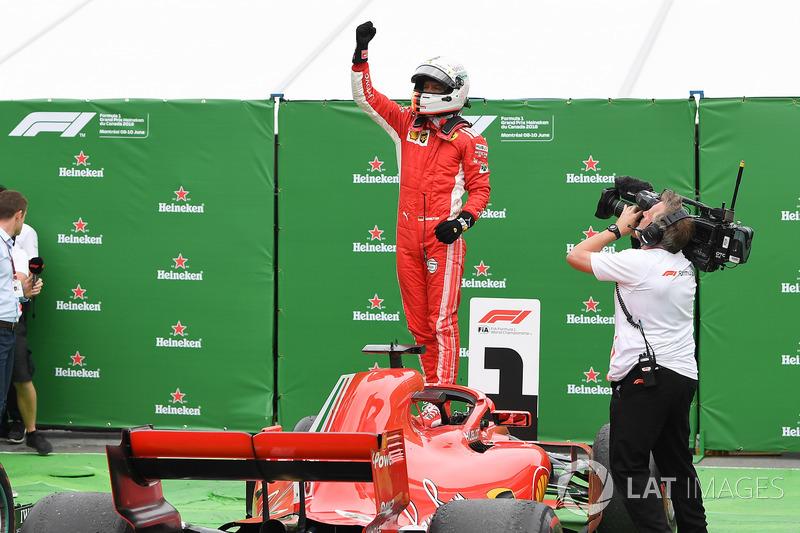 Sebastian Vettel, Ferrari SF71H celebra su triunfo en Canadá en parc ferme