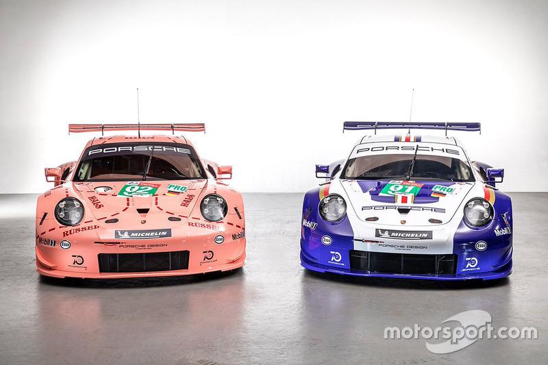 #92 Porsche GT Team Porsche 911 RSR and #91 Porsche GT Team Porsche 911 RSR with special liveries