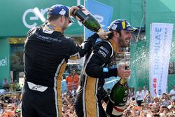 Andre Lotterer, Techeetah, Jean-Eric Vergne, Techeetah, spray the champagne on the podium