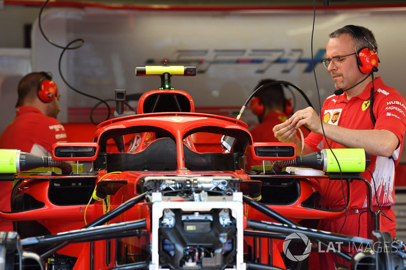 Ferrari SF71H in the garage with halo mirrors