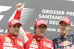 Podium: Felipe Massa, Ferrari F10, second place, Fernando Alonso, Ferrari F10, race winner, Sebastian Vettel, Red Bull Racing RB6, third place