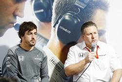Fernando Alonso, McLaren, Zak Brown, Executive Director, McLaren Technology Group, hold a press conference