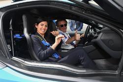 Alejandro Agag, CEO, Formula E, drives Virgini Elena Raggo, Mayor of Rome, in the BMW i8 Qualcomm Safety car