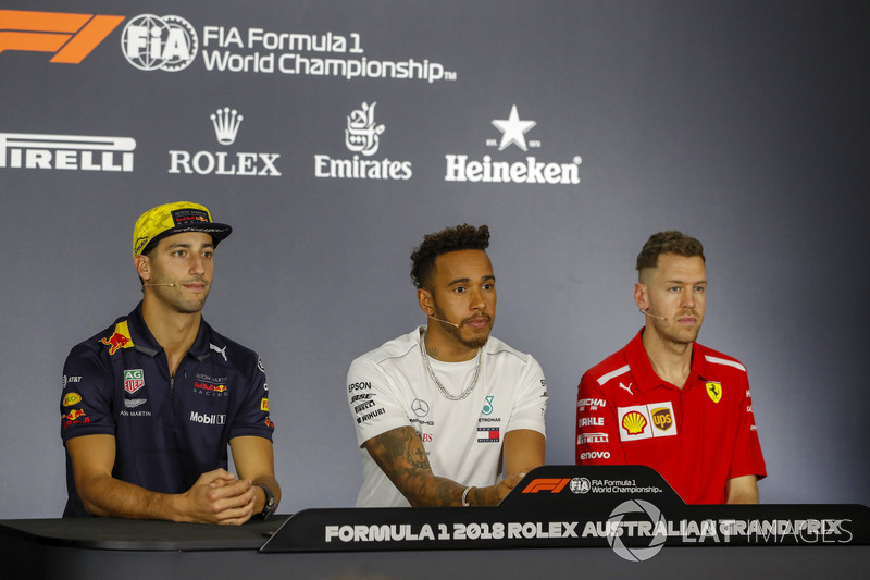 Daniel Ricciardo, Red Bull Racing, Lewis Hamilton, Mercedes AMG F1, and Sebastian Vettel, Ferrari in