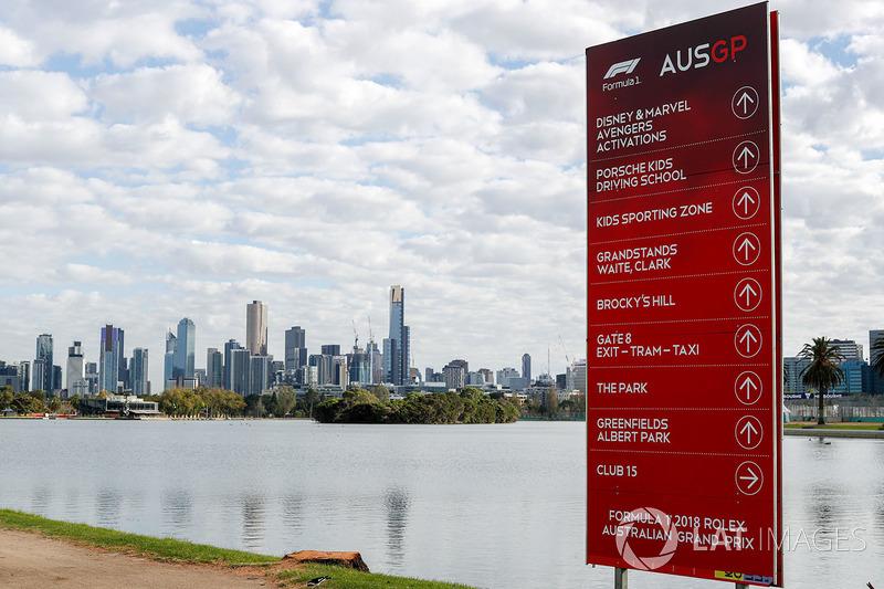 Formula 1 sign overlooking Melbourne, Australia