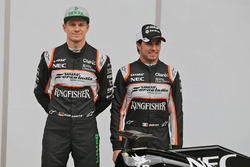 Sergio Perez, Sahara Force India F1, Alfonso Celis Jr., Sahara Force India F1, und Nico Hülkenberg,
