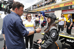 Aseel Al-Hamad, talks to Will Buxton after driving a 2012 Lotus E20 Renault F1 car in the Renault Passion Parade