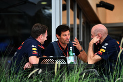 Christian Horner, Red Bull Racing Team Principal, Mark Webber, and Adrian Newey, Red Bull Racing
