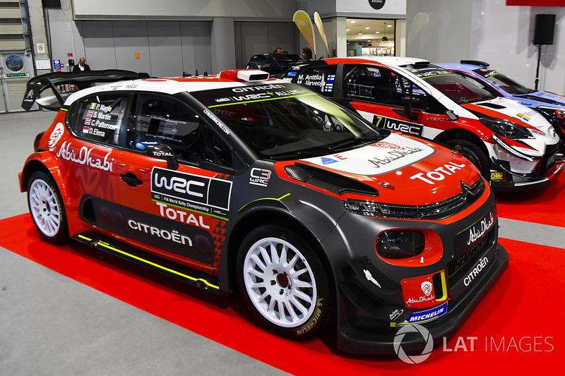 Citroen, Hyundai and Toyota WRC cars on display