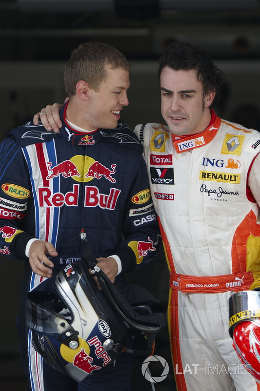 Sebastian Vettel, Red Bull Racing et Fernando Alonso, Renault F1 Team