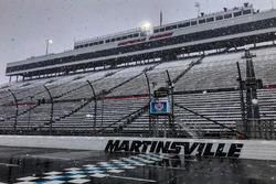 Snow falling on Martinsville Speedway