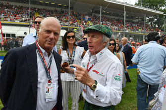 Jackie Stewart on the grid with Michel De Carvalho, former Olympic skier