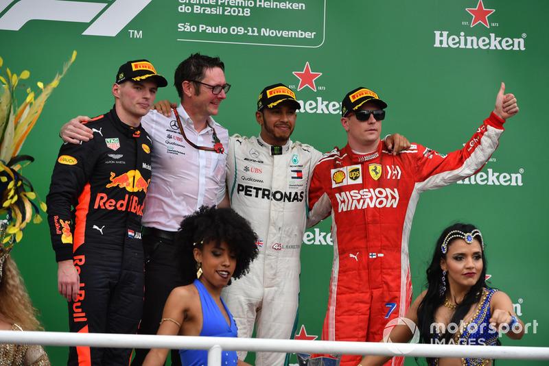 20. GP Brasil - Podium: Lewis Hamilton, Max Verstappen, Kimi Raikkonen