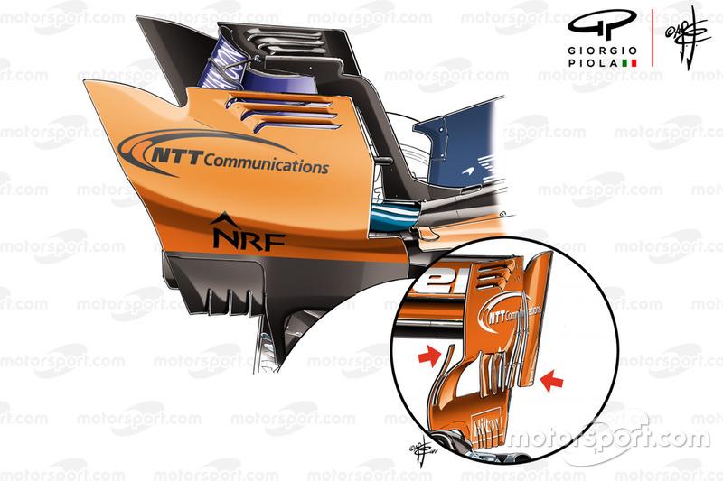 Los endplates del alerón trasero del McLaren MCL33 frente a los del MCL32