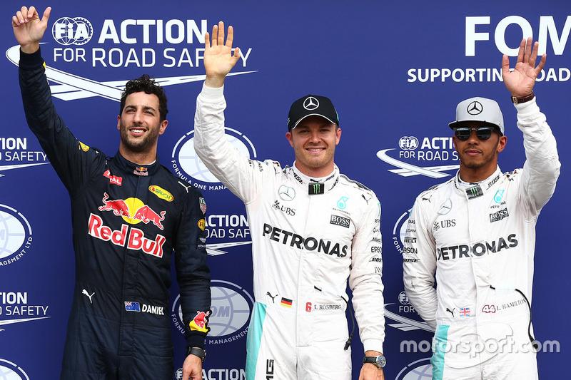 Polesitter: Nico Rosberg, Mercedes AMG F1; 2. Lewis Hamilton, Mercedes AMG F1; 3. Daniel Ricciardo,