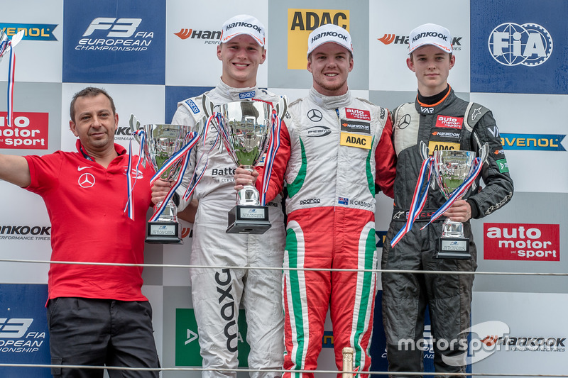 Podium, Maximilian Günther, Prema Powerteam Dallara F312 - Mercedes-Benz, Nick Cassidy, Prema Powerteam Dallara F312 - Mercedes-Benz, Callum Ilott, Van Amersfoort Racing Dallara F312 - Mercedes-Benz