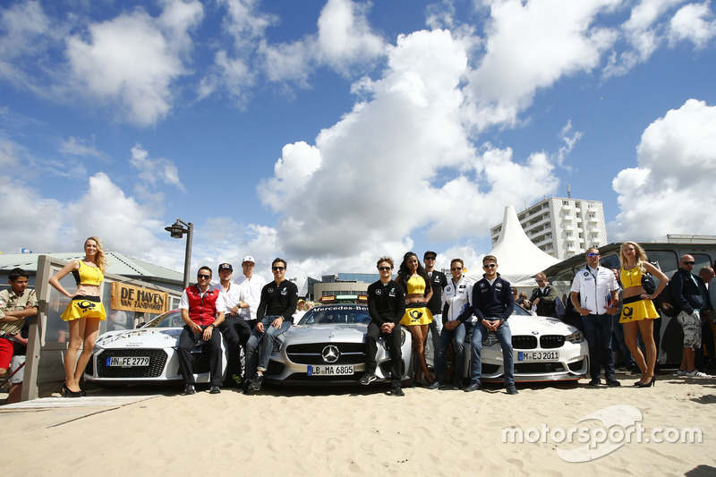Audi, Mercedes Benz, BMW safety car on the beach with Timo Scheider, Audi Sport Team Phoenix; Adrien Tambay, Audi Sport Team Abt; Nico Müller, Audi Sport Team Rosberg; Robert Wickens, HWA; Lucas Auer, Mercedes-AMG DTM Team Mücke; Christian Vietoris, Merced