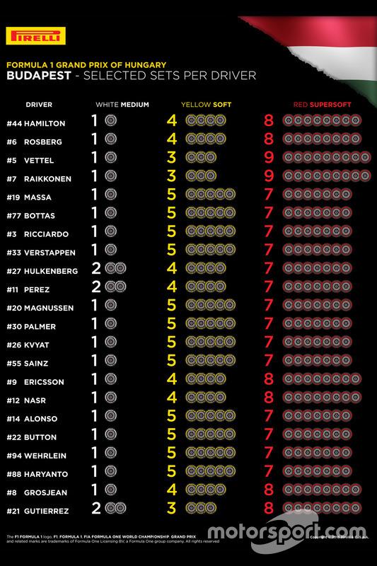 Auswahl der Reifenmischungen für den Grand Prix von Ungarn