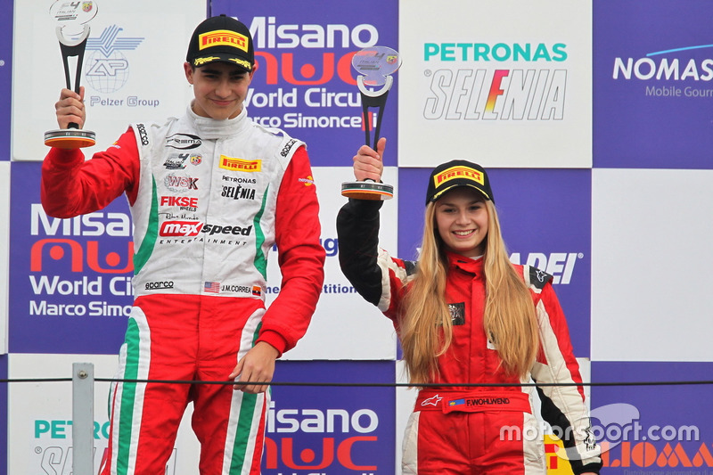Podium B-C, Juan Manuel Correa, Prema Power Team, Fabienne Wohlwend, Aragon Racing