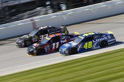 Joey Gase, Go Green Racing, Ford; Denny Hamlin, Joe Gibbs Racing, Toyota; Jimmie Johnson, Hendrick M