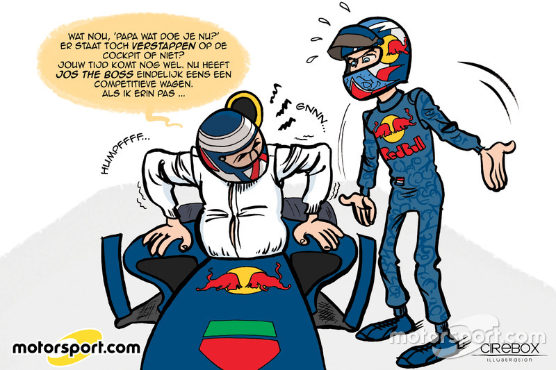 Cartoon van Cirebox - Verstappen in de Red Bull