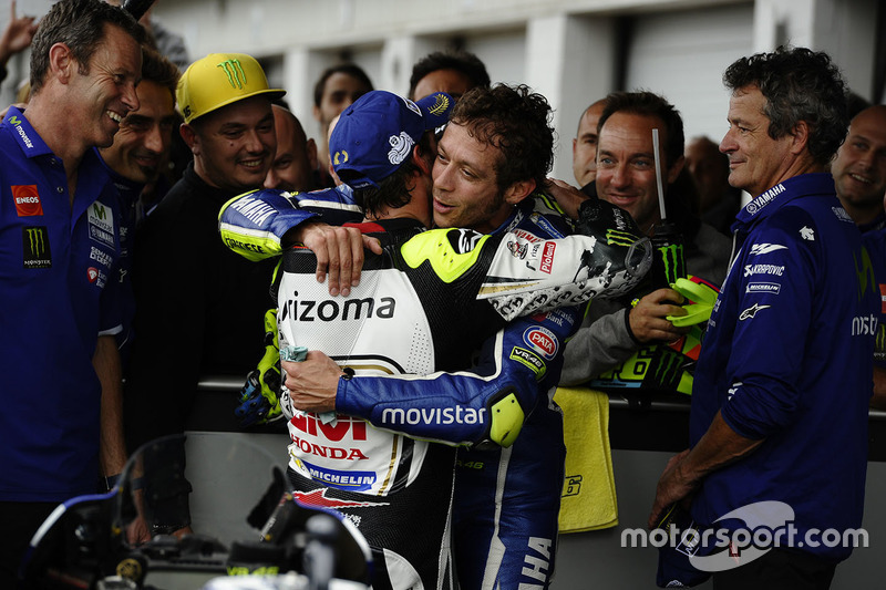 Second place Cal Crutchlow, Team LCR Honda, third place Valentino Rossi, Yamaha Factory Racing